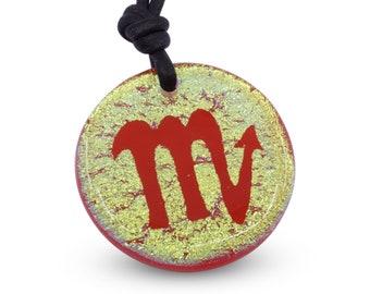 Scorpion  Zodiac Sign Gold Dichroic Glass Pendant Mens Jewelry Minimalist Necklace Horoscope Handmade By ZulaSurfing
