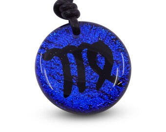 Libra Zodiac Pendant Sign Blue Color Fused Dichroic Glass Minimalist Necklace Mens jewelry Handmade by ZulaSurfing