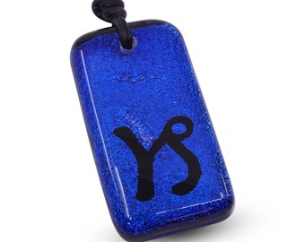 Capricorn Necklace Zodiac Necklace fused Glass sign Pendant Minimalist necklace Handmade by ZulaSurfing