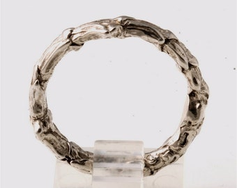 Delicate sterling silver bush branch ring size 10
