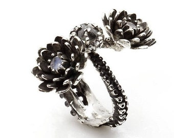 Flower Ring Tentacle Ring lotus Ring silver platinum and diamond Tentacle adjustable ring Handmade by Zulasurfing