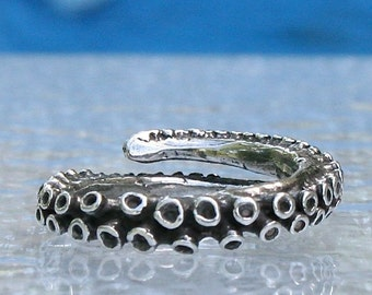Octopus Ring Silver Octopus Tentacle Ring Adjustable Ring Wedding Bend .925 Sterling Silver Handmade by Zulasurfing