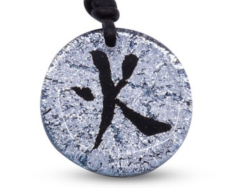 Chinese Fire Symbol characters Fused Glass Beach Jewelry Handmade by ZulaSurfing