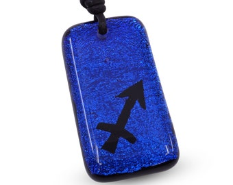 Sagittarius Necklace zodiac sign Symbol jewelry Blue color Dichroic Glass Handmade By ZulaSurfing