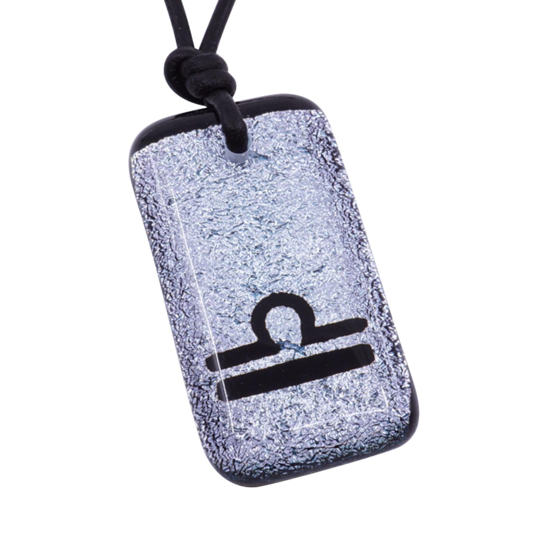 Gemini Zodiac Sign Minimalist Necklace horoscope jewelry silver color dichroic glass Handmade By ZulaSurfing