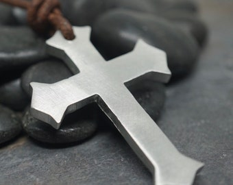 Surfer necklace Trendy Pewter Cross on a Tempered Leather Pendant by Zulasurfing
