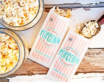 Popcorn Party Bag - Wedding, Shower, Birthday, and Baby  - Tall white paper bags - 20 White Bags included