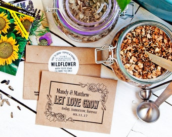 Seed Packet Wedding Favors - Let Love Grow - Personalized Bag with Seeds - Seed Favor - 30 Packets or more