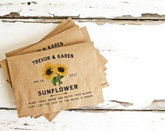 Seed Packet Wedding Favors - Sunflowers - Personalized Bag with Sunflower Seeds - Seed Favor - 30 Packets or more