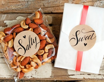 Salty / Sweet Wedding Favor Stickers - Wedding Favors, Shower Favors - Salty and Sweet Sticker Pack - 20 Stickers