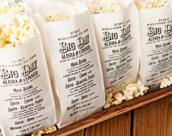 Popcorn Personalized Program Bags - Big Day Design - White food service bags -  20 per pack (40 min)