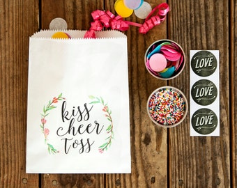 Confetti or Flower Petal Toss Bag - Kiss, Cheer, Toss! - Wedding Exit - Wax Lined Paper Favor Bag - Packs of 5 White Bags