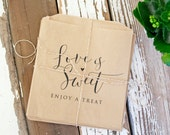 Love is Sweet - Wedding Favor Bags - Baked Goods, Candy, Cookies, Donuts - 20 Food Safe Bags (favors not included)