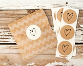 SALE Medium Heart Sticker Seals - Wedding Favor Bag or Envelope Accessory - 24 Stickers