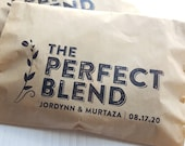 Personalized Wedding Coffee Favor - The Perfect Blend, Coffee Plant design, DIY - 20 Kraft Brown Food Safe Paper Bags - Party Supply