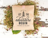 Kraft Wedding Favor Bags - Let the Adventure Begin - Outdoor lovers - 20 Flat Kraft Bags