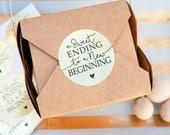 "Wedding Favor Stickers - ""Sweet Ending"" Wedding Cake, Food Favors - Pack of 20 Gold Foil"