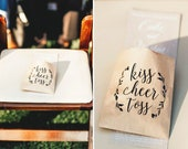 Wedding Petal Toss Bag - Kraft Paper Favor Bags - Kiss Cheer Toss - Fill with your own Rose or Flower Petals - 20 pack