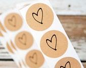 SALE Medium Heart Sticker Seals - Wedding Favor Bag or Envelope Accessory - 24 Stickers