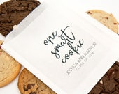 Graduation Party Favor, Cookie bag - One Smart Cookie - White Grease Resistant Baked Goods Bags - 20 per pack (favors not included)