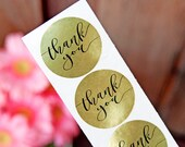 Gold Foil Thank You Stickers - Wedding Favors or Party gifts -  24 Stickers