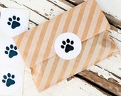 Medium Paw Sticker Seals - Easy Peel Wedding Favor Bag or Envelope Accessory - 24 Stickers