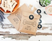 Doggie Bag Party Favor - Kraft Paper with Wax Lining - Kids or Puppy Birthday - 10 DIY Bags & Stickers