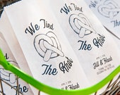 Personalized Pretzel Bag - We tied the knot - Tall Philly Pretzel Favor Bag or Pretzel Stick Bag  - Custom Names and Colors  - 20 Bags