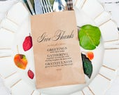 Thanksgiving Dinner Table Setting - Give Thanks Menu - Bread or Silverware Bag - Packs of 5 Kraft Bags