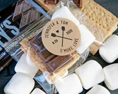 S'more Love Stickers - Camping Theme Wedding Favors, Bridal Shower - DIY Food Favor - 20 Stickers (food not included)