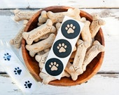 Dog Paw Stickers - Wedding Favor Accessory - Pet, Birthday, Stationary - 24 small stickers
