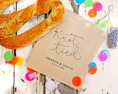 Soft Pretzel Wedding Favor Bags - Personalize Your Favor - Knot Tied - Wedding Snack Bag - 20 Grease Resistant Bags (food not included)