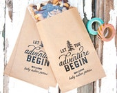 Personalized Baby Shower Favor Bags - Let the Adventure Begin - Boy or Girl - Trail Mix, Camping - Party Supply - 10 Kraft Paper Bags