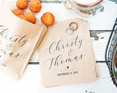 Wedding Favor Bags for Donut Holes, Cookies, & Baked Goods - Personalized Calligraphy Design, 20 Grease Resistant Bags (favors not included)