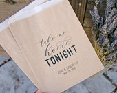 Wedding Favor Bags - Personalized Goody Bag - Take Me Home Tonight - 20 Wax Lined Paper (food not included)
