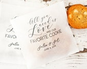 Wedding favor bags - Love and Cookies design - White Grease Resistant Baked Goods Bags - 20 per pack (favors not included)