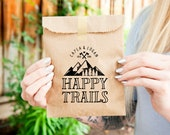 Happy Trails - Trail Mix Wedding Favor Bag - Mountain Lover - Personalized Camping Theme - 20 Kraft Bags