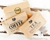 Wedding Favor Tea and Coffee Bags  - Budget Favor - Winter Wedding Ideas  - 20 kraft Food Bags