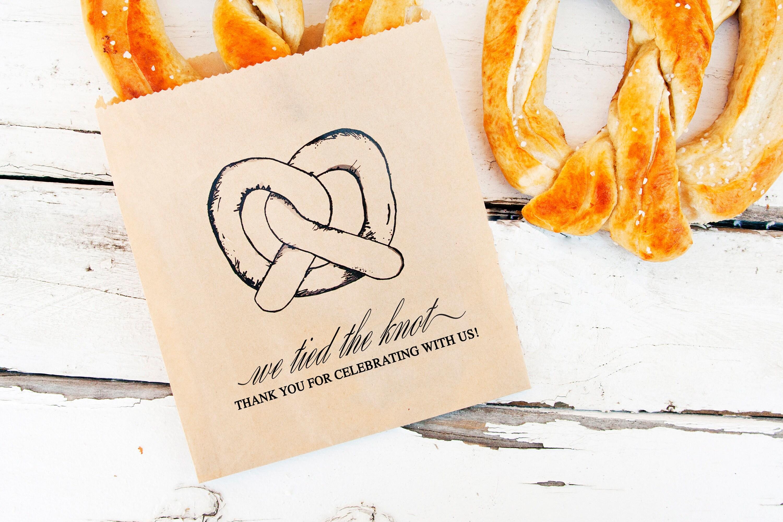 Wedding Favor Pretzel Bags Kraft Thank You Soft Pretzel Bag