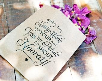 Wedding Petal Toss Bag, Kraft Paper - Toss and Shout Hooray!  20 Flower Petal Send Off Bags