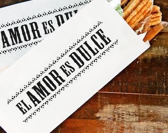Churro Bag - Love is Sweet - Spanish Favor - El Amor Es Dulce - 5 food safe bags - Wedding, Engagement, Party, Fiesta