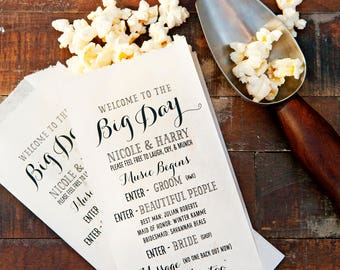 Creative Program - Fun Personalized Popcorn Wedding Bag - Big Day Design - Theater or Show Theme - White food bags -  20 per pack (40 Min)
