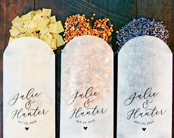 Petal Toss Glassine Envelopes - DIY Aisle Exit - Personalized Names - packs of 20 or purchase a sample #016