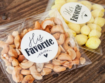 His & Hers Wedding Favor Stickers - Wedding Welcome Favors, Shower Favors -  Gold, Kraft, or White - 20 Stickers #A4