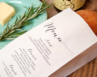 Wedding Menu Bag - Customize with Your Menu - Bread, Baguette, Silverware Bag - Wedding Reception - Birthday, Anniversary - 20 bags per pack