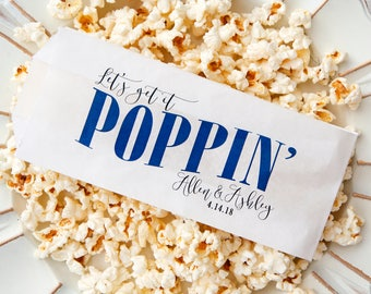 Wedding Favor Personalized Popcorn Bags - Poppin' - Buy More and Save - Buffet or Fresh Popcorn Bag  - 20 white Bags per Pack