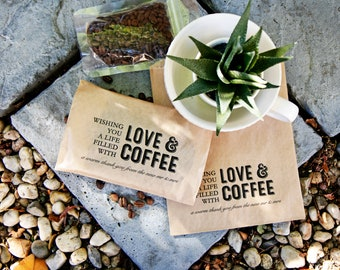 Love and Coffee - Wedding Favor Bags - Thank You Gift - Mr & Mrs - Budget Coffee Favors - 20 Kraft brown Bags (coffee not included) #031