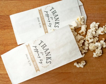 Popping By Thank You Bag - Personalized Baby Shower, Bridal Shower, Wedding Favor Bag  - Custom Names and Colors  - 20 Popcorn Bags