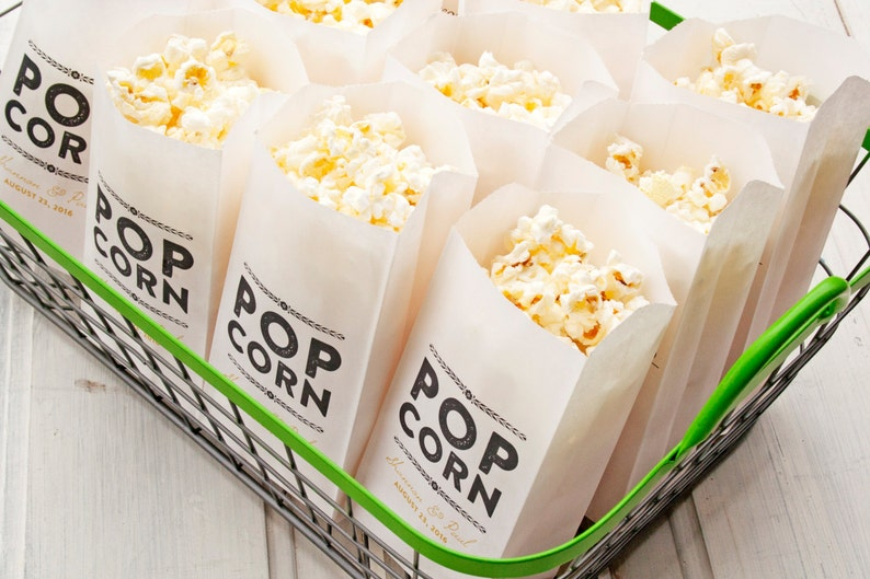 Popcorn Favor Bags Personalized Wedding Favor Rustic Gold Etsy