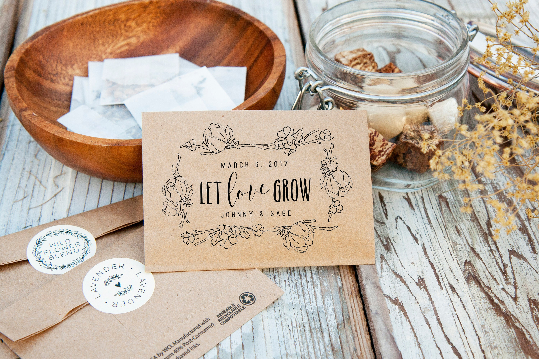 Fleurs sauvages ou des graines de tournesol faveurs de mariage personnaliser avec nom /& date faveurs
